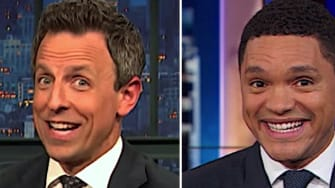 Stephen Colbert, Trevor Noah, and Seth Meyers on Barr the chicken