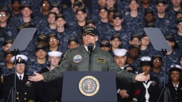 President Trump speaks to members of the Navy