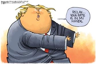 Political Cartoon U.S. Trump Iran war