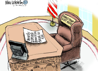 Political Cartoon U.S. Trump COVID oval office
