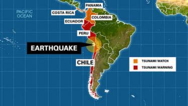 A tsunami hits Chile following a powerful magnitude 8.2 earthquake