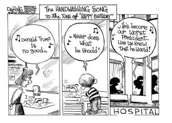 Political Cartoon U.S. Handwashing song Donald Trump worst president hospitals