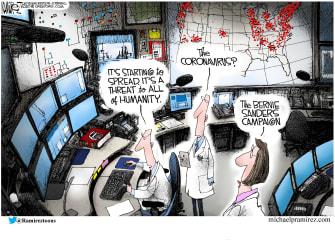 Political Cartoon U.S. Bernie fever coronavirus feel the bern