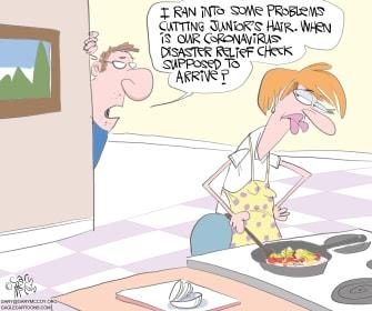 Political Cartoon U.S. Coronavirus Stimulus Congress haircut check disaster relief