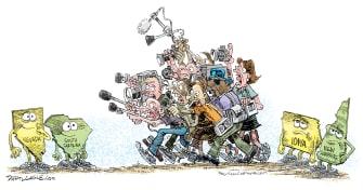 Political Cartoon U.S. Nevada South Carolina Iowa New Hampshire media coverage democratic primaries 2020 election