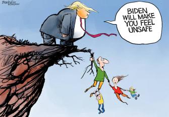 Political Cartoon U.S. Trump Biden unsafe 2020 election