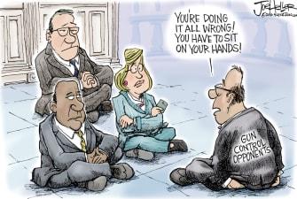 Political cartoon U.S. Democratic sit-in guns