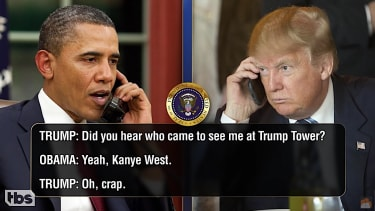 Trump and Obama chat on Conan