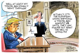 Political Cartoon U.S. Trump Europe travel ban coronavirus