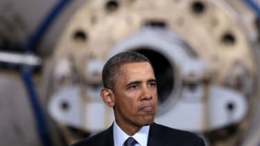 President Obama speaks during a visit to Newport News Shipbuilding on Feb. 26.