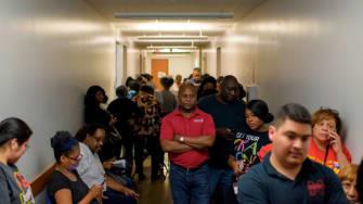 Houston voters wait in a long line.