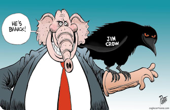 Political Cartoon U.S. jim crow gop georgia
