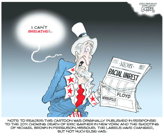 Editorial Cartoon U.S. Uncle Sam I cant breathe George Floyd Minneapolis