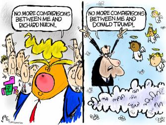 Political Cartoon U.S. Trump Nixon capitol riot impeachment