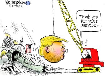 Political Cartoon U.S. Trump Putin Russia afghanistan bounty