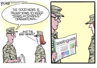 Political Cartoon U.S. Trump Stars and Stripes suckers losers