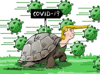 Political Cartoon U.S. Trump Coronavirus COVID-19 turtle slow response