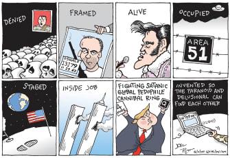 Political Cartoon U.S. qanon conspiracies Trump