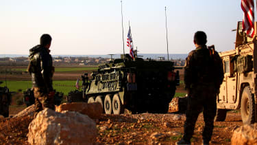 A convoy of U.S. armored vehicles near the western outskirts of Manbij, Syria, on March 5, 2017.