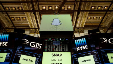 The sign for Snap Inc. in the New York Stock Exchange
