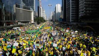 Protesters in Brazil.