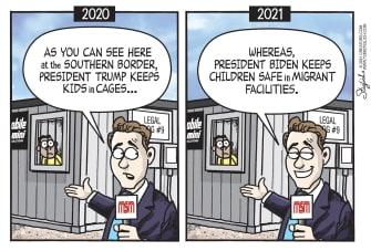 Political Cartoon U.S. biden trump migrant children detention