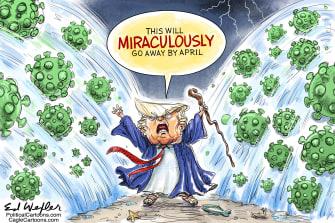 Political Cartoon U.S. Trump coronavirus parting Red Sea Moses