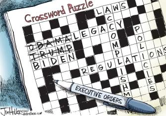 Political Cartoon U.S. trump obama biden legacy