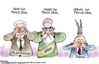 Political Cartoon U.S. middle east peace deal Democrats