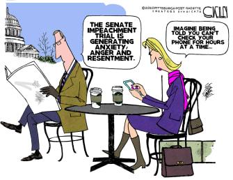 Editorial Cartoon U.S. Trump impeachment trial phones
