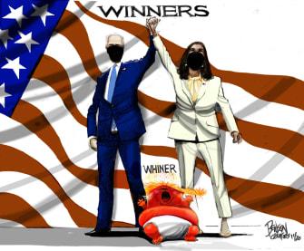 Political Cartoon U.S. Trump Harris Biden
