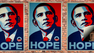 Obama posters and President Trump.
