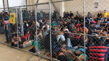 Families at the U.S. Border Patrol station in McAllen, Texas.
