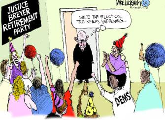 Editorial Cartoon U.S. supreme court breyer retirement
