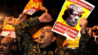 Protesters in Turkey (pictured) and Egypt are staging anti-government protests in support of Libyan demonstrators.