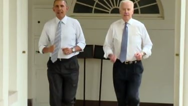 Watch Obama and Biden jog around the West Wing to a disco beat