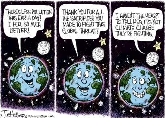 Editorial Cartoon World Earth Day 2020 grateful planet people not fighting climate change