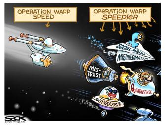 Editorial Cartoon U.S. Operation warp speed disinformation