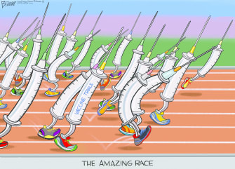 Editorial CartoonWorld coronavirus vaccine race