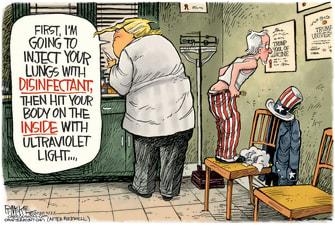 Political Cartoon U.S. Trump Uncle Sam coronavirus bleach disinfectant norman rockwell