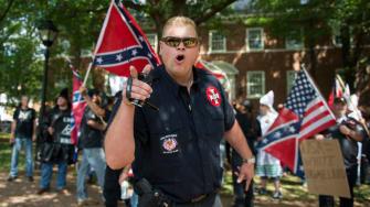 A KKK member in Charlottesville, Virginia