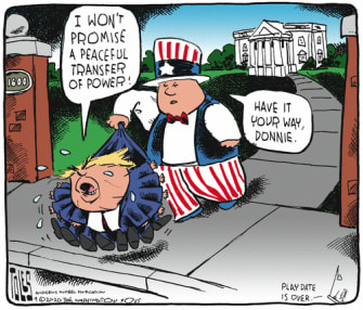 Political Cartoon U.S. Trump 2020 transfer of power
