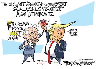Political Cartoon U.S. Trump impeachment dershowitz OJ Simpson defense