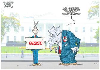 Political Cartoon U.S. GOP Democrats resist Biden
