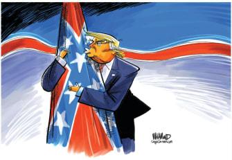 Political Cartoon U.S. Trump hug confederate flag