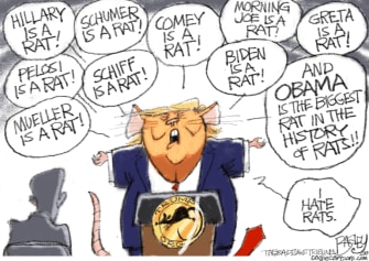 Political Cartoon U.S. Trump democrats rats