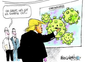 Political Cartoon U.S. Trump coronavirus sharpie