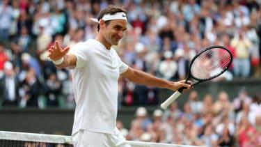 Roger Federer celebrates at Wimbledon