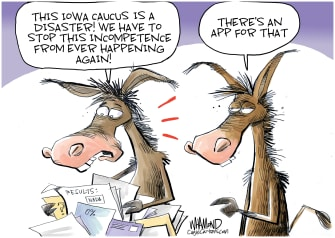Political Cartoon U.S. Democrats Iowa Caucus 2020 elections voting confusion apps