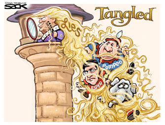 Political Cartoon U.S. Trump Iran lies Tangled Pompeo Esper